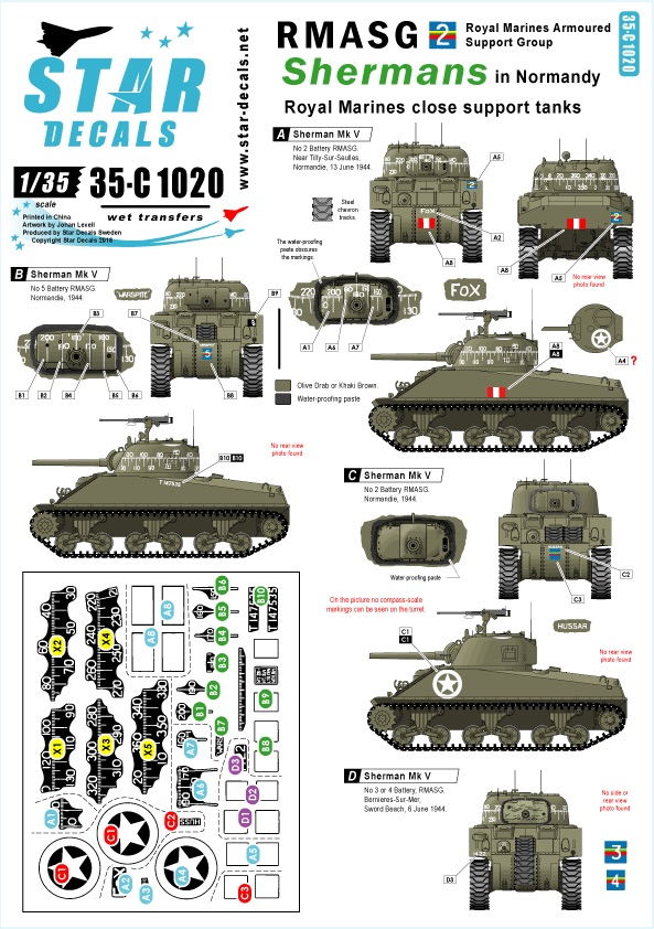 Star Decals Military vehicle - 35-C1020 | Hannants