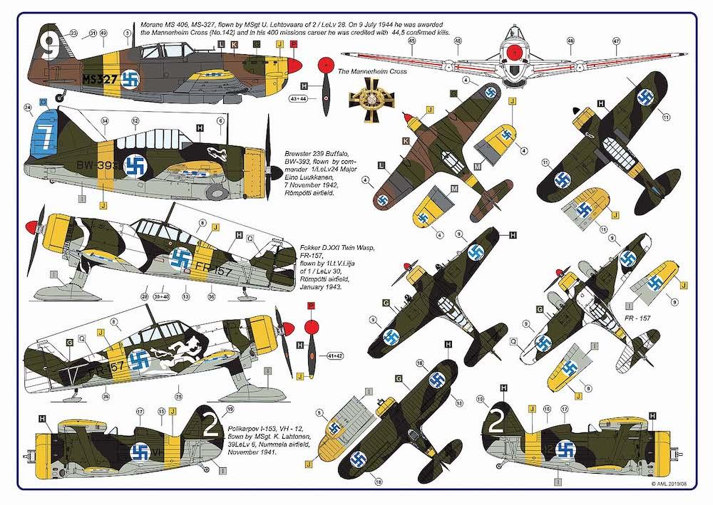 SBS Decals 1//48 FOKKER D.XXI FIGHTER IN FINNISH SERVICE