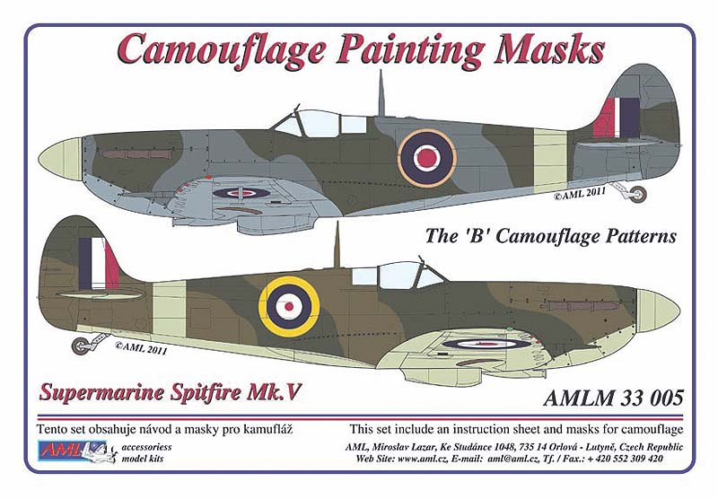 0c211acd2517 Description  Supermarine Spitfire Mk.V camouflage pattern paint mask of the   B  scheme patterns (designed to be used with Hasegawa