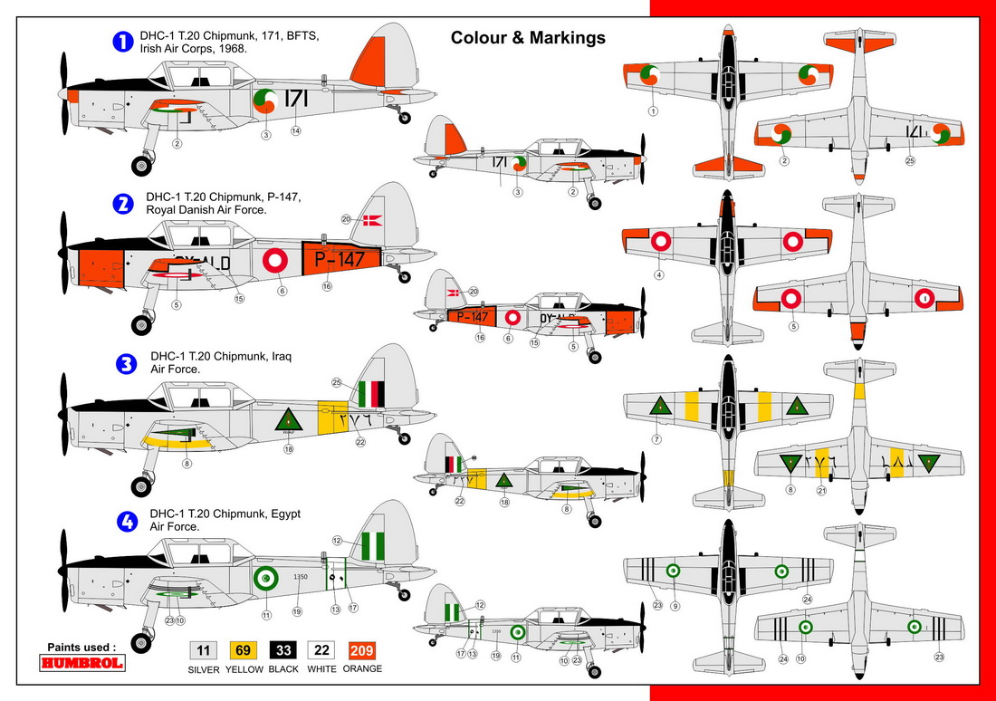 Az model aircraft kits azm7557 hannants description dhc chipmunk t20 foreign users 171 bfts irish air corps 1968 p 147 royal danish air force iraq air force egypt air force nvjuhfo Gallery
