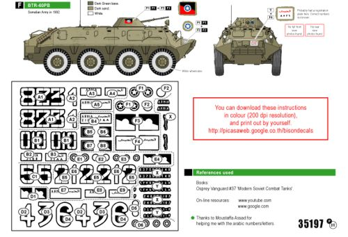 Manufacturer bison decals code number bd35197 scale 135 item type military vehicle decals