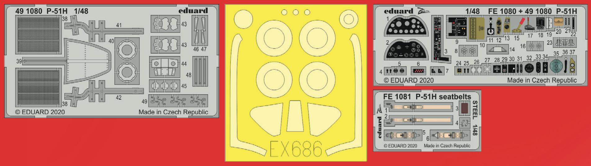 EDUARD ZOOM FE1080 Detail Set for Modelsvit Kit P-51H in 1:48