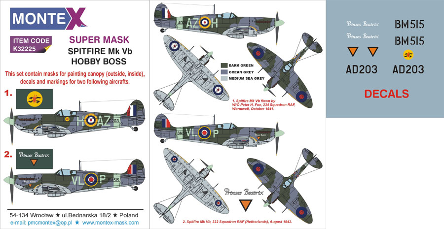 EDUARD JX138 Masking Sheet for Hobbyboss® Kit Spitfire Mk.Vb//Trop in 1:32