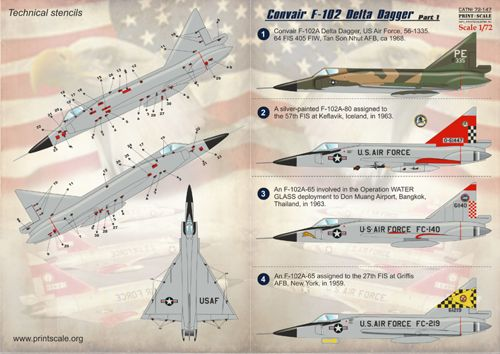 NY, CT, PA for MGK SFA72149 STARFIGHTER 1//72 F102 Daggers in ANG Service