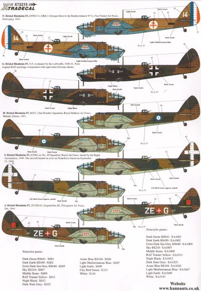 Toys & Games Xtradecal X72215 1/72 Bristol Blenheim and Bolingbroke Model Decals