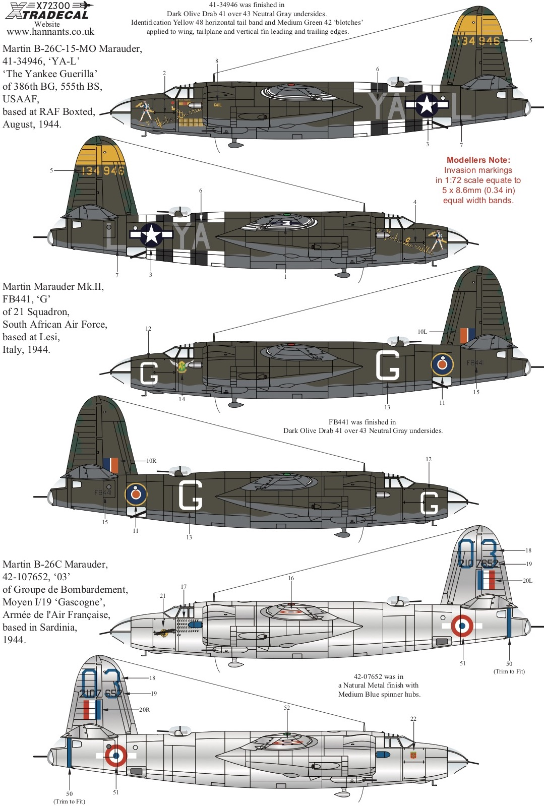 Description: Martin B-26 Marauder (7) 41-34946 YA-L 386BG 555BS 'The Yankee  Guerrilla' RAF Boxted 1944; FB441/G 21 Sqn South Africa AF Italy 1944;